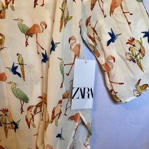 NWT Zara bird v-neck shirt
